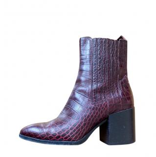 Aeyde Burgundy Croc Embossed Ankle Boots