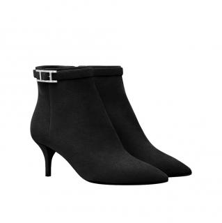 Hermes Black Suede Blanche Heeled Ankle Boots