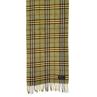 Burberry Green Vintage Lambswool Check Scarf