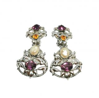 Napier Vintage Faux Pearl Crystal Clip-On Earrings