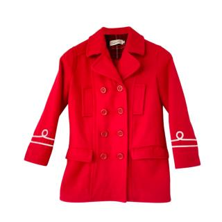 Christian Dior Kids Red Double Breasted Wool Coat