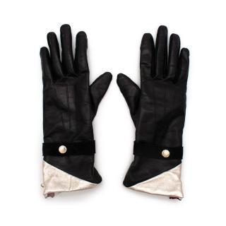 Agnelle Black & Silver Leather Gloves