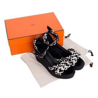 Hermes Black & White Espadrille Wedge Sandals