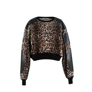 Givenchy Leopard Print Wool Sweater with Leather Panels