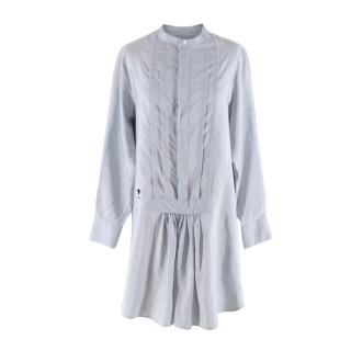 Christian Dior Blue Pinstripe Silk Tunic Shirt
