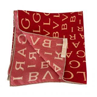 Bvlgari Red Logo Print Silk Scarf