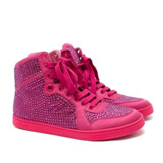Gucci Neon Pink Crystal-Embellished Satin High Top Sneakers