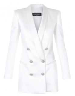 Balmain White satin double-breasted blazer dress