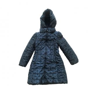 Monnalisa Velvet Spotted Navy Hooded Puffer Coat