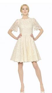 Dolce & Gabbana Cream Floral Lace Dress