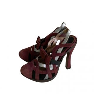 Marni Burgundy Suede Woven Sandals