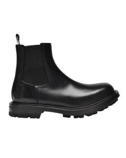 Alexander McQueen Black Glossy Watson Chelsea Boots