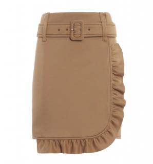Prada Ruffled Tan Technical Jersey Mini Skirt