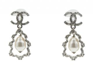 Chanel Faux Pearl Drop Crystal CC Earrings