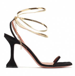 Amina Muaddi Henson metallic-strap suede sandals