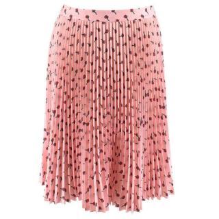 Prada Rose Print Pink Pleated Skirt