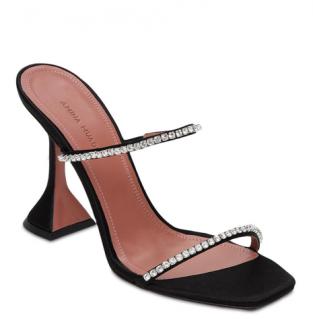 Amina Muaddi Black 95mm Gilda Crystal Embellished Sandals