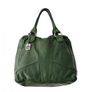 Fendi Green Leather Vintage Tote Bag