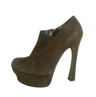 Yves Saint Laurent Vintage Khaki Ankle Boots
