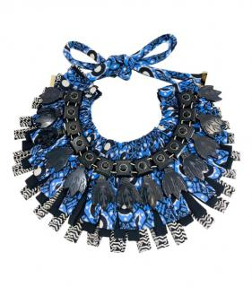 Etro Blue Embellished Collar Necklace