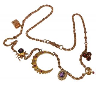 Bespoke Victorian Rose Gold Fine Gemstone Charm Necklace