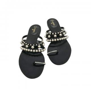 Chanel Black Faux Pearl Strung Sandals