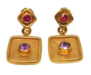 Ricks Sapphire & Ruby 18ct Yellow Gold Byzantine Earrings