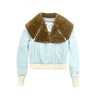 Chanel Idenitification Blue Ski Jacket with Fur Collar