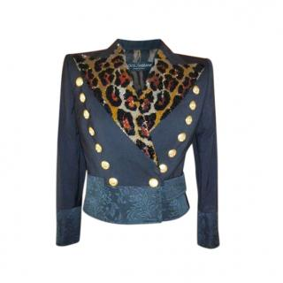 Dolce & Gabbana Leopard Sequin Brocade Double Breasted Jacket