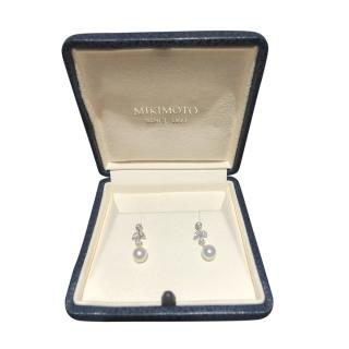 Mikimoto 18ct White Gold Diamond & Akoya Pearl Earrings