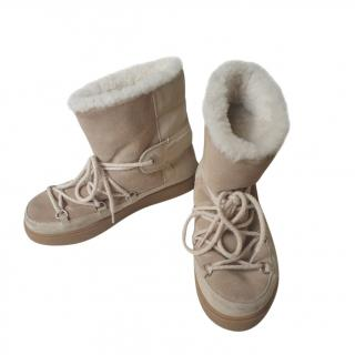Moncler Beige Shearling Lined Lace-Up Boots