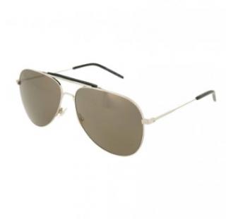 Saint Laurent Silver Tone Classic Aviator Sunglasses