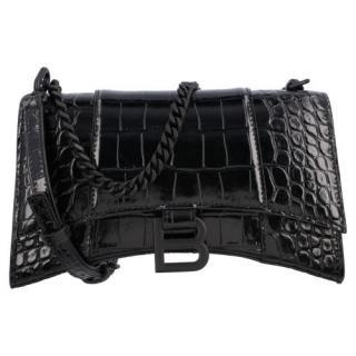 Balenciaga Black Croc Embossed XS Hourglass Shoulder bag