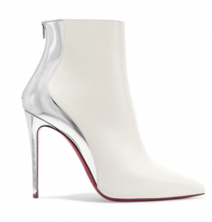 Christian Louboutin Delicotte 100 Snow/Silver Ankle Boots