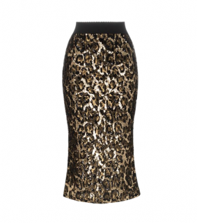 Dolce & Gabbana Gold Sequin Fitted Skirt