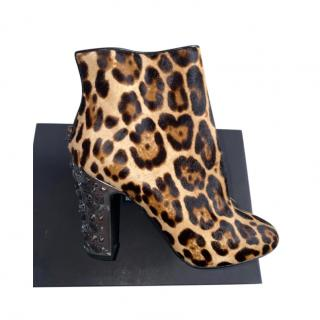 Dolce & Gabbana Leopard Calf Hair Embellished Ankle Boots