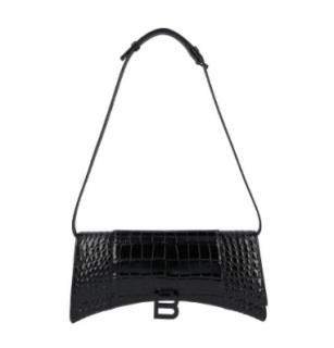 Balenciaga Black Croc Embossed Hourglass Sling Shoulder Bag