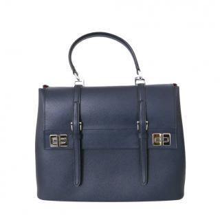 Prada Blue Saffiano Leather Double Satchel