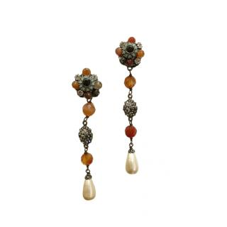 Chanel Amber Tone Floral Crystal Drop Earrings