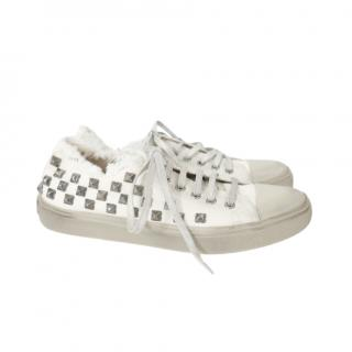 Saint Laurent Studded Canvas Frayed Low Top Sneakers