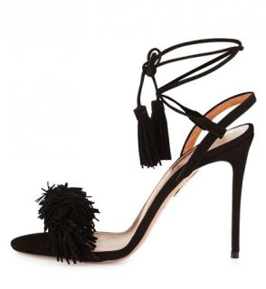 Aquazzura Black Suede Wild Thing Sandals