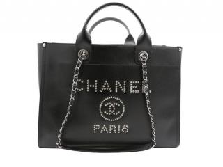 Chanel Black Deauville Leather Tote Bag