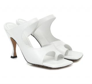 Bottega Veneta White Crunch Lux Open-square Mule Sandals