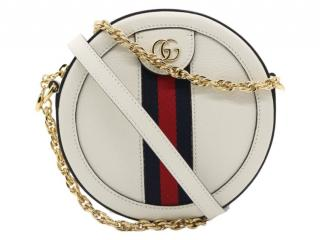 Gucci White Leather around Ophidia Crossbody Bag