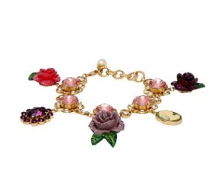 Dolce & Gabbana Crystal Floral Charm Bracelet