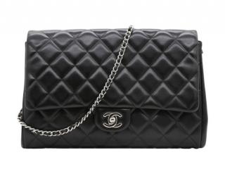 Chanel Black Quilted Leather Jumbo Flap Clutch