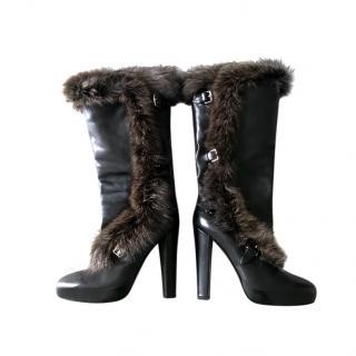 Hermes Fox Fur Trim Leather Boots