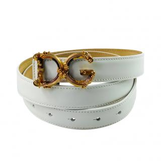Dolce & Gabbana White Leather Devotion Belt - Size 90
