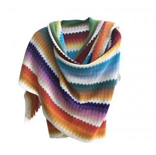 Missoni Large Multicoloured Knit Wool Blend Scarf