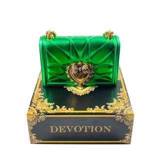 Dolce & Gabbana Metallic Green Devotion Shoulder Bag